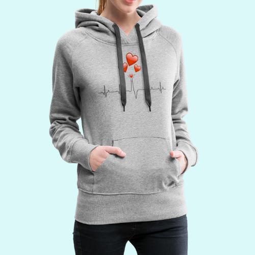 electrocardiogramme - Sweat-shirt à capuche Premium pour femmes
