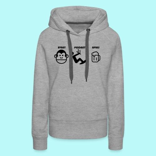 AVANT PENDANT APRES kitewindcorsica - Sweat-shirt à capuche Premium pour femmes