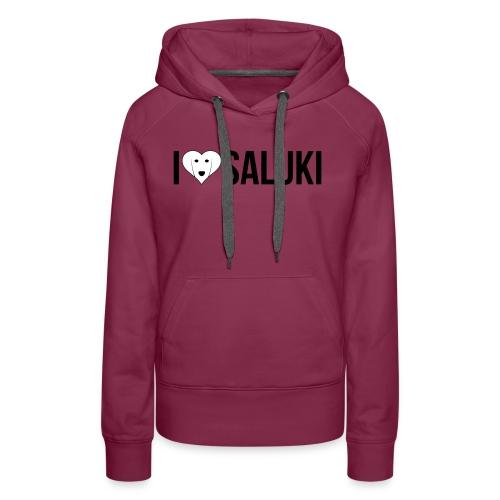 I Love Saluki - Felpa con cappuccio premium da donna