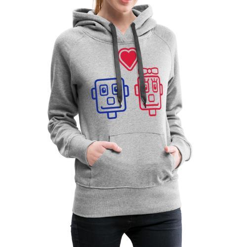 Motif Robots Amoureux - Sweat-shirt à capuche Premium pour femmes