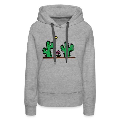 Cactus - Felpa con cappuccio premium da donna