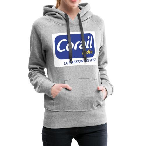 Logo bleu - Sweat-shirt à capuche Premium pour femmes