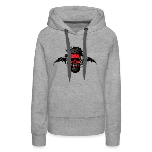 tete de mort hipster dragon tribal skull barbu mou - Sweat-shirt à capuche Premium pour femmes
