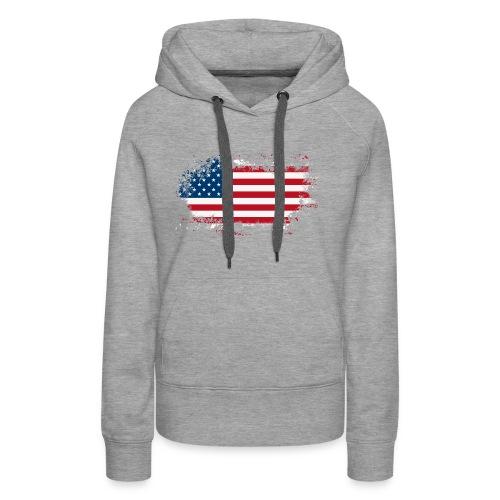 American Flag - Sudadera con capucha premium para mujer