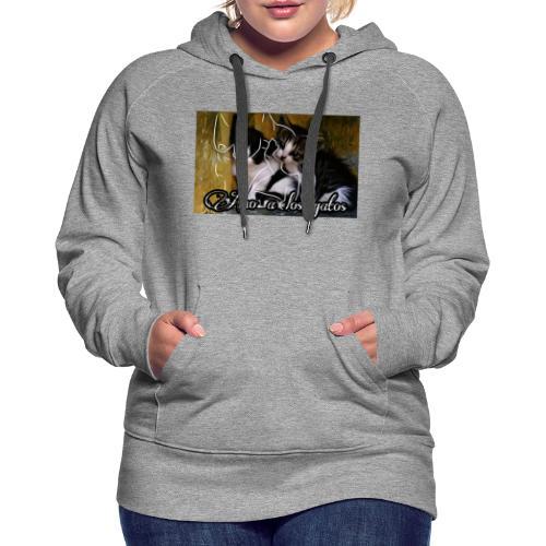 Amor por los gatos - Sudadera con capucha premium para mujer