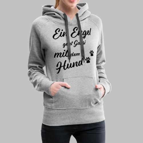 EIN ENGEL GEHT GASSI MIT DEM HUND - V2 - Black - Frauen Premium Hoodie