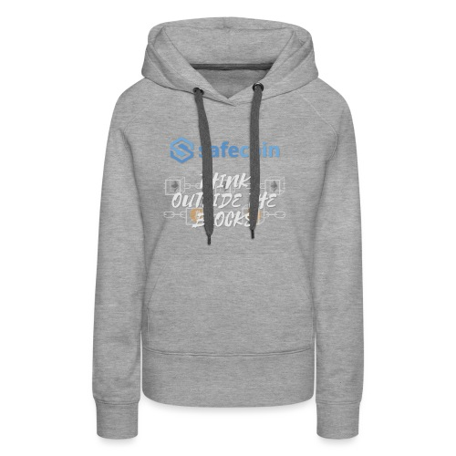 SafeCoin; Think Outside the Blocks (blue + white) - Women's Premium Hoodie