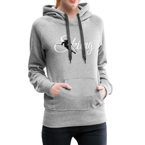 Skiing Skifahrerin (Weiss) Wintersport Apres-Ski - Frauen Premium Hoodie