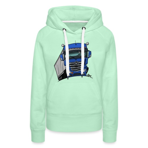 0807 M truck blauw trailer - Vrouwen Premium hoodie
