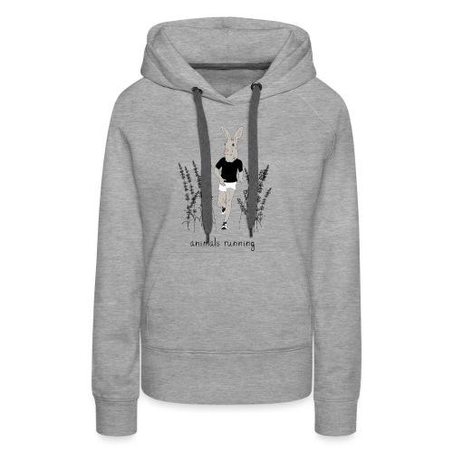 Lièvre running - Sweat-shirt à capuche Premium pour femmes