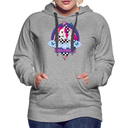 Einhorn mit Girl Power - Frauen Premium Hoodie