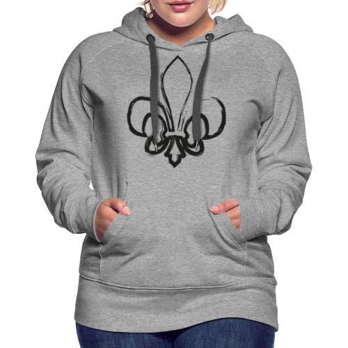 Pinselzeichnung Lilie – Schwarz - Frauen Premium Hoodie