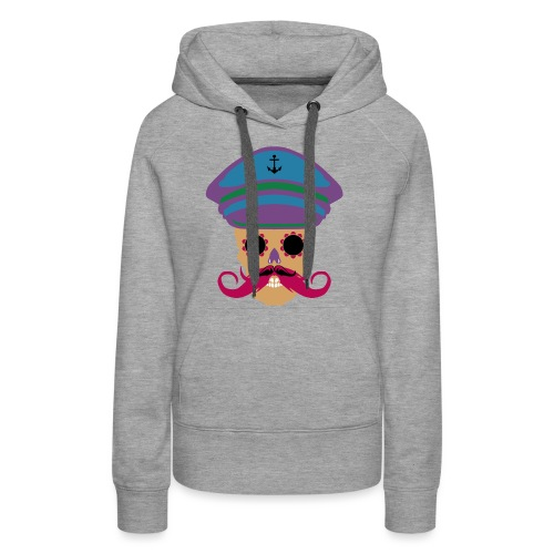 tete de mort fantaisie crane dessin kepi moustache - Sweat-shirt à capuche Premium pour femmes