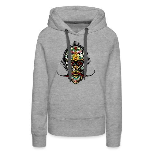 tete de mort mexicaine crane hipster skull moustac - Sweat-shirt à capuche Premium pour femmes