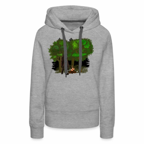 Bigfoot Campfire Forest - Women's Premium Hoodie