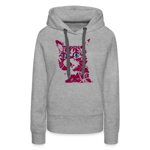 chat violet - Sweat-shirt à capuche Premium pour femmes
