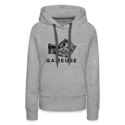 POING GAMEUSE - Sweat-shirt à capuche Premium pour femmes