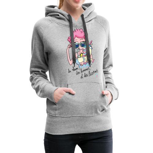 Rhum, hommes & licornes - Sweat-shirt à capuche Premium pour femmes