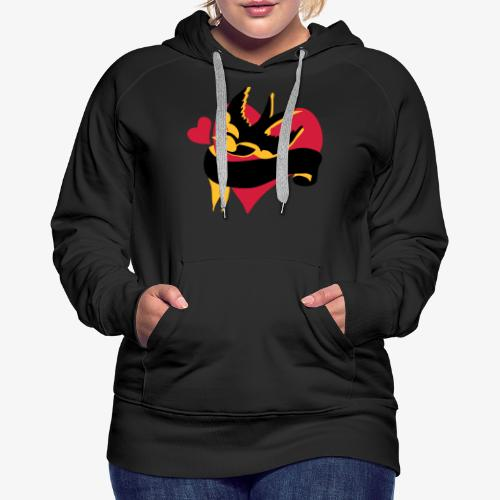 retro tattoo bird with heart - Women's Premium Hoodie