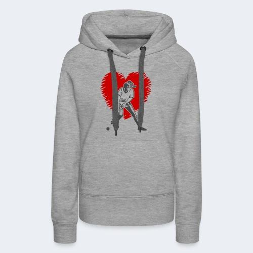Hockeyspielerin vor Herz - Frauen Premium Hoodie