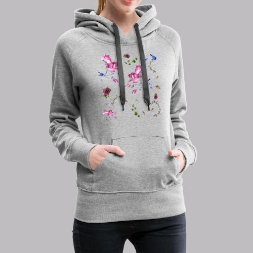 spring pattern - Felpa con cappuccio premium da donna