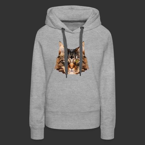Chat LowPoly - Sweat-shirt à capuche Premium pour femmes