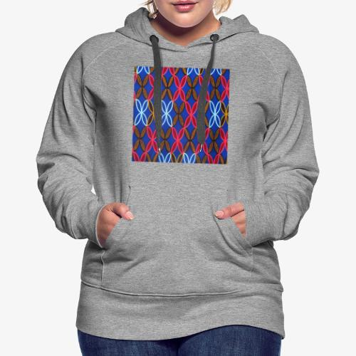Design motifs bleu rose orange marron - Sweat-shirt à capuche Premium pour femmes