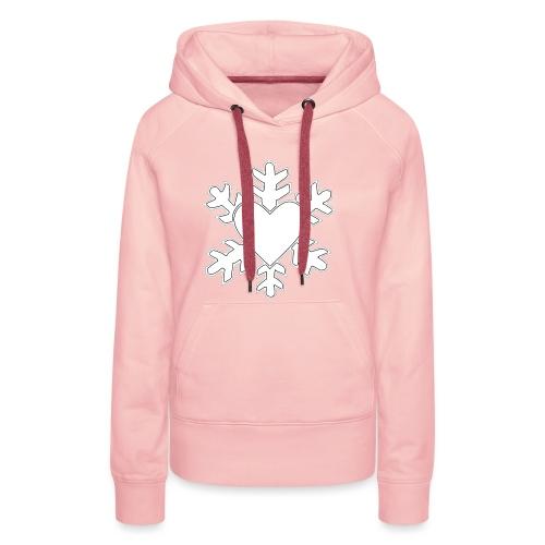 Flocon coeur 3D - Sweat-shirt à capuche Premium pour femmes