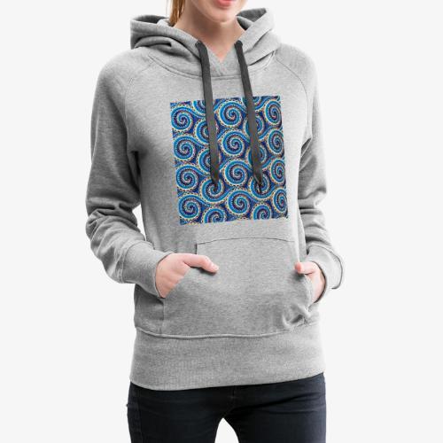 Spirales au motif bleu - Sweat-shirt à capuche Premium pour femmes