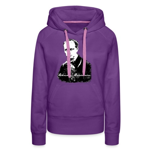 Baudelaire (fond blanc) + signature - Sweat-shirt à capuche Premium pour femmes