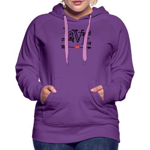 Love flêche - Sweat-shirt à capuche Premium pour femmes