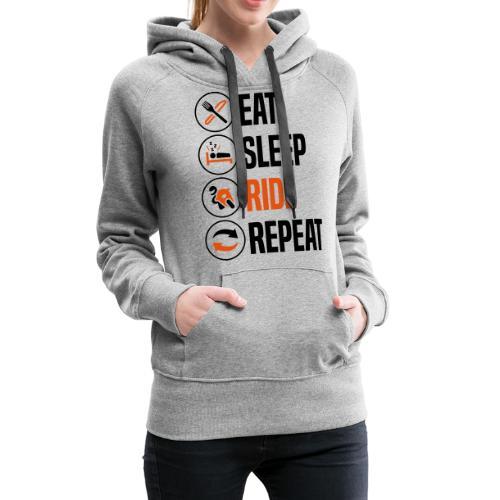 eat sleep ride repeat sportsbike 2col - Women's Premium Hoodie