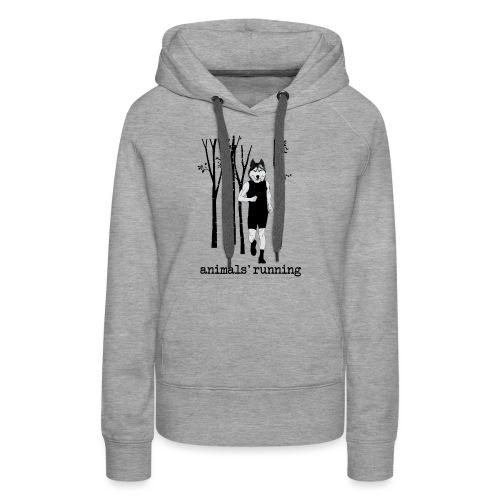 Loup running - Sweat-shirt à capuche Premium pour femmes