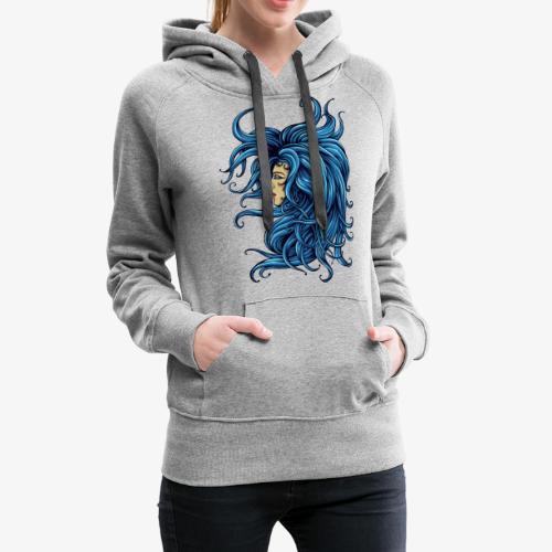 Dame dans le bleu - Sweat-shirt à capuche Premium pour femmes