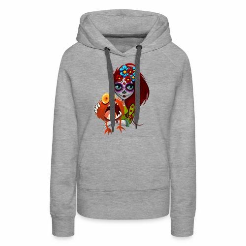 Catrina con Monstruo - Sudadera con capucha premium para mujer