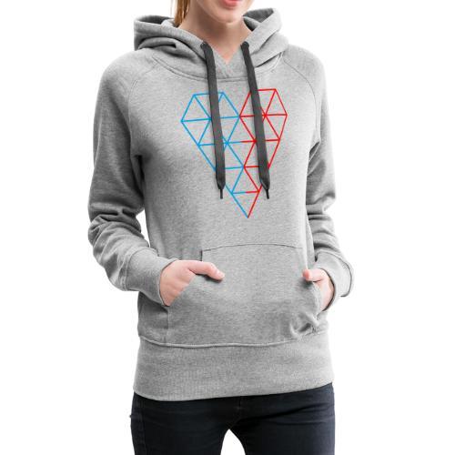 The Heart of Life x 1, Dual Polygon. - Women's Premium Hoodie