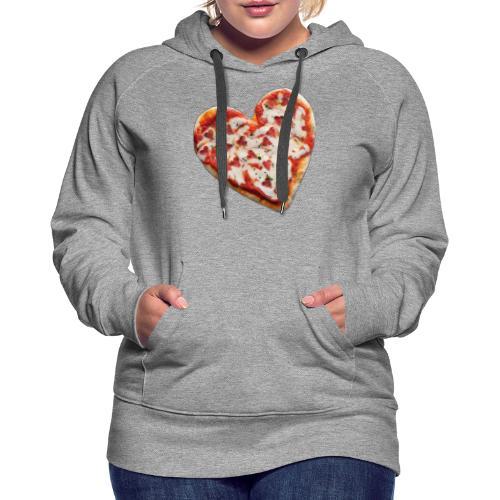 Pizza a cuore - Felpa con cappuccio premium da donna