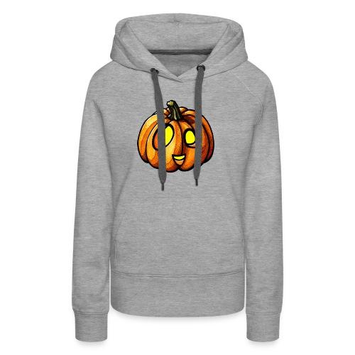 Pumpkin Halloween watercolor scribblesirii - Felpa con cappuccio premium da donna