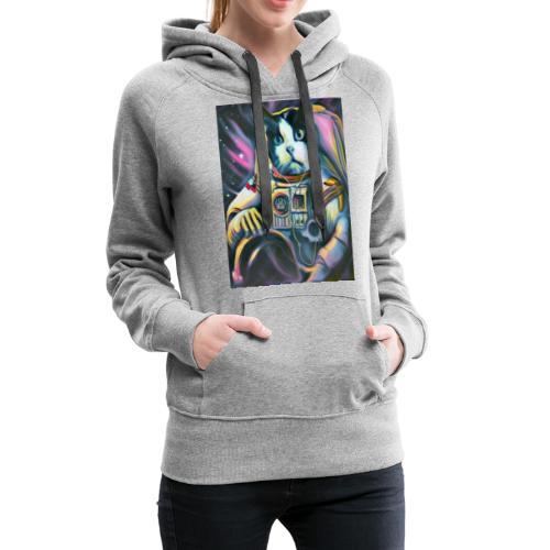 Gato Astronauta - Sudadera con capucha premium para mujer