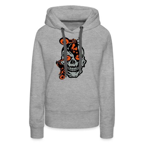 tete mort moto motrocycle oeil skull - Sweat-shirt à capuche Premium pour femmes