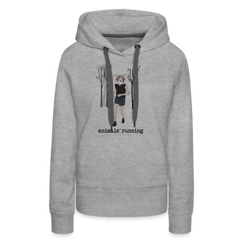 Tigre gris running - Sweat-shirt à capuche Premium pour femmes