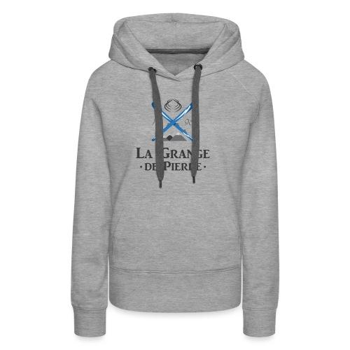 La Grange de Pierre Blue Cross Dark - Sweat-shirt à capuche Premium pour femmes