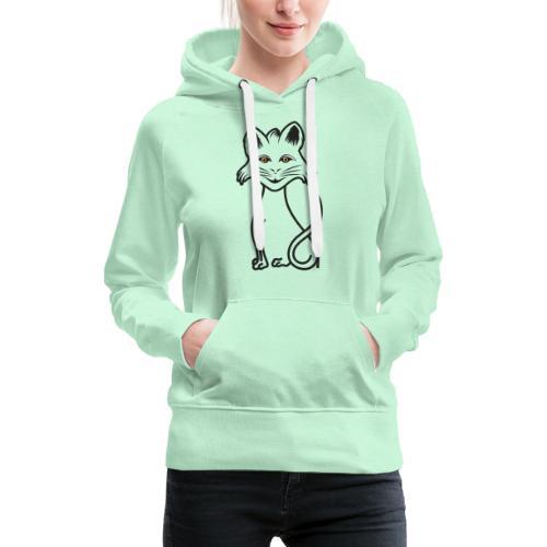 gatto nero - Felpa con cappuccio premium da donna