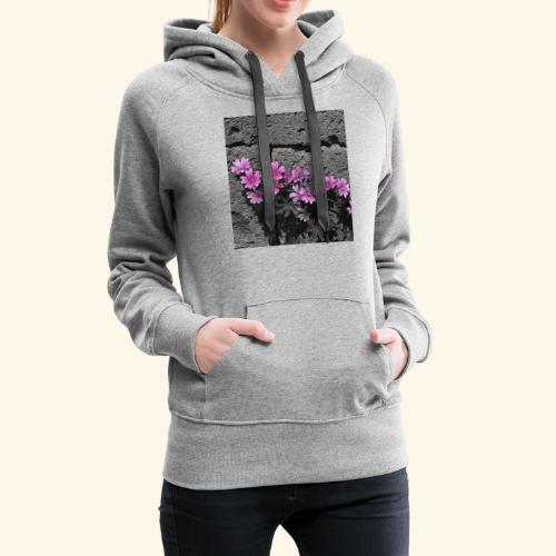 Fiori viola disegnati - Felpa con cappuccio premium da donna