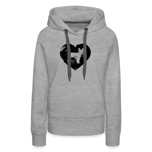 Französische Bulldogge Herz mit Silhouette - Frauen Premium Hoodie