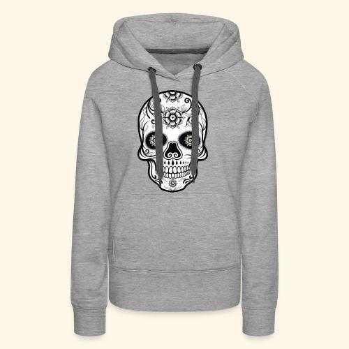 skull and flowers cool - Sudadera con capucha premium para mujer