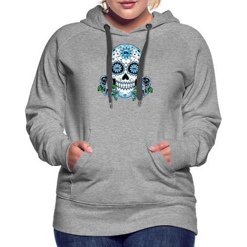 Blue Sugar Skull - Women's Premium Hoodie