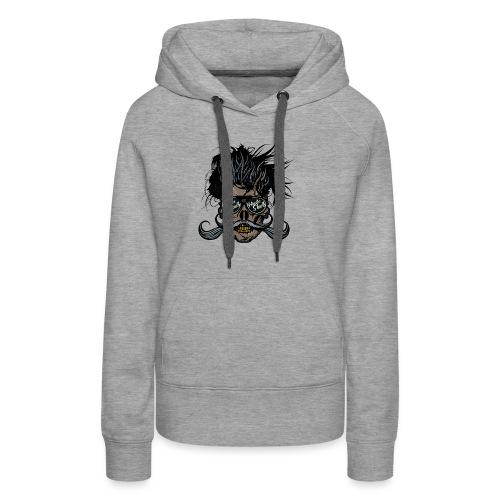 hipster skull tete de mort crane barbu moustache - Sweat-shirt à capuche Premium pour femmes