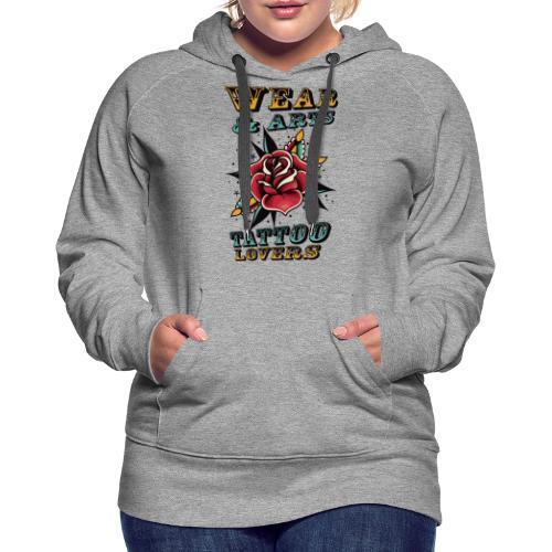 Rose & lettering - Sudadera con capucha premium para mujer
