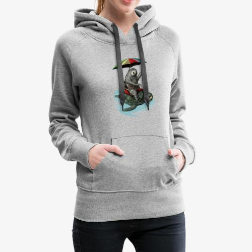 Two toed Sloth riding a turtle - Women's Premium Hoodie
